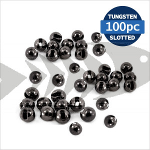 Tungsten Beads Slotted black 100pc