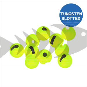Tungsten Beads Slotted col. fluo chartreuse