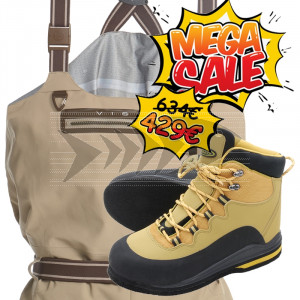 Set Wader Vision Scout & Wading Shoes Nahka with Studs