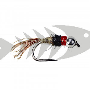 Barbless Tungsten Glass Beads Red Caddis