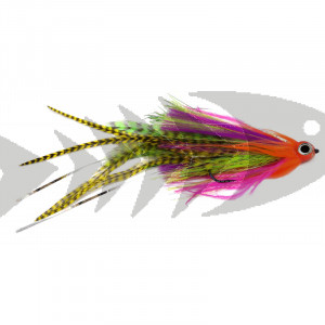 Pike Long Tail Streamer col. pink/chartreuse grizzly